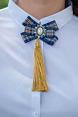 Odznaky/Brošne - Brošňa pod golier Sarah - modrá so zlatou - 9550043_