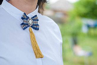 Odznaky/Brošne - Brošňa pod golier Sarah - modrá so zlatou - 9550039_