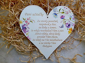 Dekorácie - Srdiečko pre pani učiteľku - 9551482_