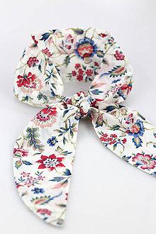 Šatky - Letná kvetinová šatka do vlasov a krku