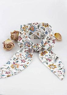 Šatky - Elegantná kvetinová šatka do vlasov a krku