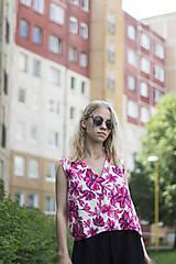 Topy - Kvetinový ľanový top - 9550410_