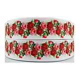 Galantéria - Rypsová stuha š.25 mm -červené ružičky - 9549976_