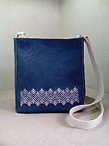 Kabelky - LORI modro -biela s výšivkou - 9551720_