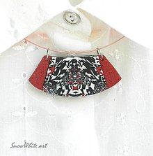 Náhrdelníky - Náhrdelník s ornamentom červeno-čierny - 9550476_