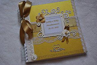 Papiernictvo - Kniha hostí zlato-biela - 9551389_