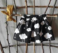 Detské oblečenie - čierno biele oblaky suknička - 9552072_