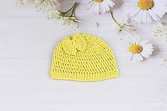 Žltá letná čiapka EXTRA FINE (s mašličkou)