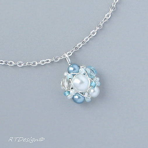 Náhrdelník ♥ WHITE & BLUE WEDDING ♥