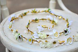 Ozdoby do vlasov - Biely romantický svadobný pletenec - 9551689_