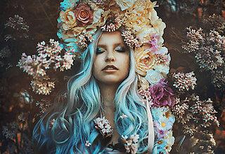 Ozdoby do vlasov - Veľká krémovo ružová kvetinová koruna - 9552117_