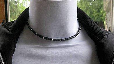 Šperky - Pánsky náhrdelník okolo krku drevený - chirurgická oceľ (čierny č. 2132) - 9551643_