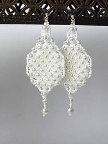 Náušnice - Šité svadobné perličkové náušnice (Ag 925) - 9551073_