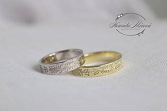 Prstene - obrúčky s folklórnym ornamentom - Bratislava (kombinácia dvoch farieb) - 9551393_