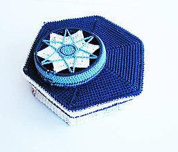 Krabičky - Modro-biela šperkovnica - 9549693_