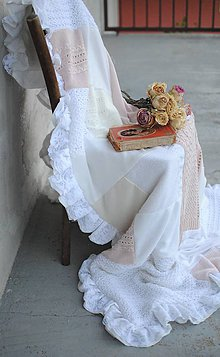 Úžitkový textil - Staroružovo-biela s volánikom - 9552174_