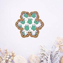 Dekorácie - Vianočné grafické perníky so vzorom - snehové vločky (rukavica) - 9551033_