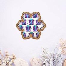 Dekorácie - Vianočné grafické perníky so vzorom - snehové vločky (darček 2) - 9551354_