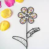 Dekorácie - farebný kvet s menom - 9552634_