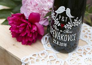 Darčeky pre svadobčanov - Vyrezávané svadobné etikety Hrdličky - 9553201_