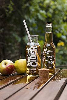 Darčeky pre svadobčanov - Vyrezávané svadobné etikety Cider - 9553842_