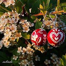 Náušnice - Červené folklórní náušnice - maxi - 9552500_