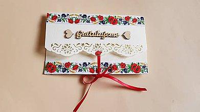 Papiernictvo - folklórna obálka, pohľadnica na peňažný dar mladomanželom - 9553751_