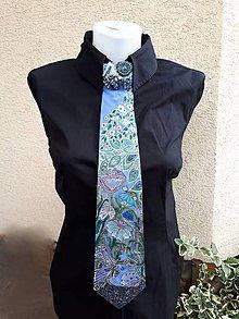 Iné doplnky - Lady neavy blue-hodvábna maľovaná a vyšívaná dámska kravata - 9553403_