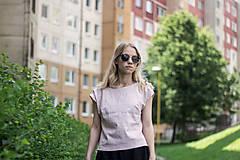 Tričká - Ľanové tričko cukrová vata - 9552665_