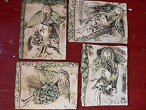 Dekorácie - Keramický kachel, Anděl - 9553988_