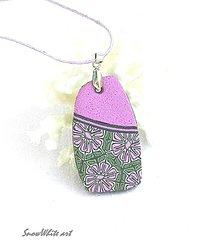 Náhrdelníky - Prívesok fialový kvetnatý - 9554224_