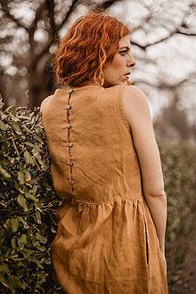 Šaty - Dámske ľanové šaty bez rukávu - 9552557_
