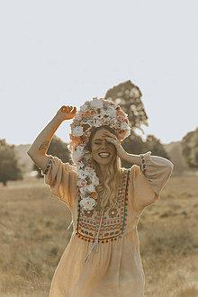 Ozdoby do vlasov - Veľká krémovo ružová kvetinová koruna - 9553850_