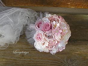 Kytice pre nevestu - svadobná kytica..vintage pink - 9552647_