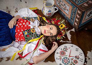 Ozdoby do vlasov - Folklórna svadobná kvetinová parta červená - 9557230_