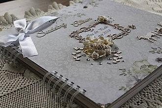 Papiernictvo - Luxusný strieborno-sivo-biely svadobný fotoalbum - 9555892_