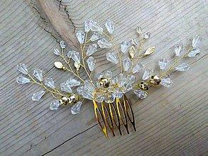 Ozdoby do vlasov - hrebienok priehľadné kvapky (Zlatá) - 9556283_