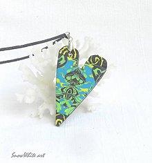 Náhrdelníky - Tyrkysovo-zelené srdce - 9557178_