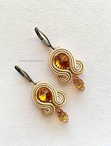 Náušnice - Ručne šité šujtášové náušnice / Soutache earrings - Swarovski®️crystals (Melani - meď/bronz - mini) - 9556143_