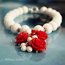 Náhrdelníky - Ruža červená - Red&White - 9557219_