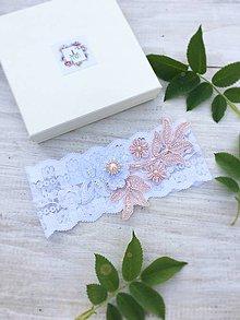 Bielizeň/Plavky - Elegantný Bielo Ružový podväzok - 9557251_