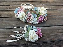 Ozdoby do vlasov - Svadobný set Popolavý sen ruží - 9558958_