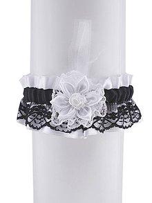 Bielizeň/Plavky - Saténový podväzok svadobný s čipkou W1 - 9559082_