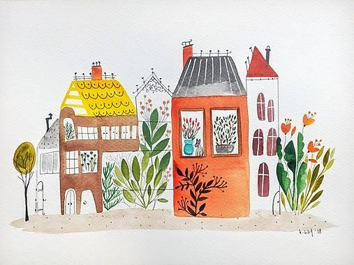 Mesto 40 originál maľba / ilustrácia