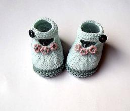 Topánočky - Mentolové sandálky s ružičkami - 9559038_