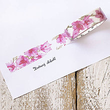 Papier - Washi pásky Kvety a listy 1,5 cm x 7 m (Washi páska Čínska ruža) - 9558606_