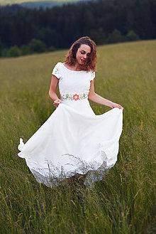 Šaty - Ivory šaty s kvetinovou výšivkou - 9557342_