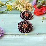Náušnice - Druzy earrings - vyšívané náušnice - 9559696_