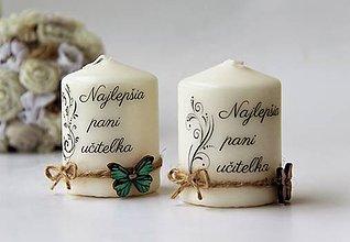 Svietidlá a sviečky - Dekoračné sviečky pre pani učiteľky - 9558270_