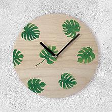 Hodiny - Nástenné hodiny Botanical - Monstera - 9558612_